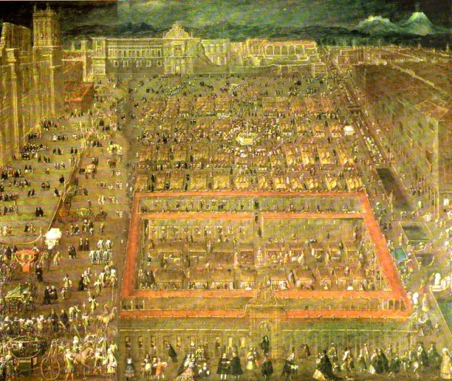 Fig. 1 - Cristobal de Villalpando - View of the Zócalo of Mexico City (1695)